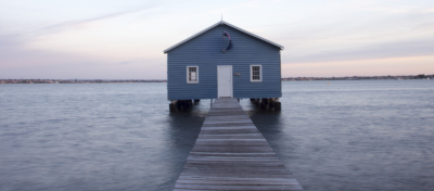 The blue boat shed